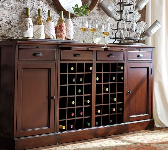 Modular Cabinets Living Room: Modular Bar Buffet With 2 Wine Grid Bases & 2 Cabinets