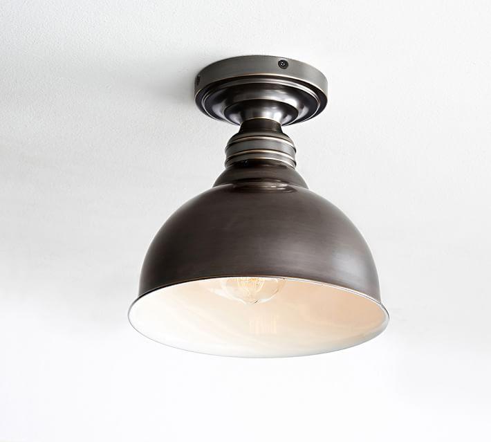 High Gloss Metal Pendant Hood - Bell w/ Bronze finish Flushmount Kit,  Large, ...
