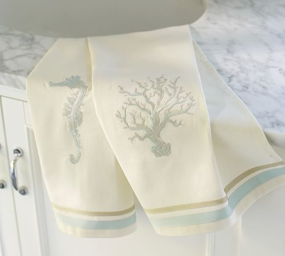 . Seaside Embroidered Guest Towels  Set of 2   Pottery Barn