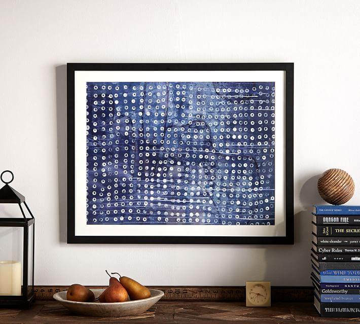 indigo dots abstract framed print pottery barn