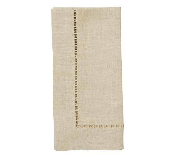 Linen Hemstitch Napkin, Set of 4 - Flax