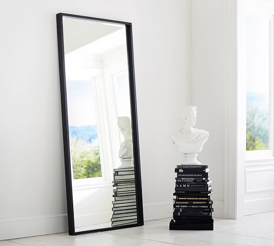 Metal wood floor mirror