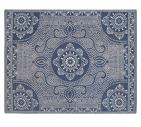 Awesome Shibori Dot Printed Indoor/Outdoor Rug   Blue Jay | Pottery Barn