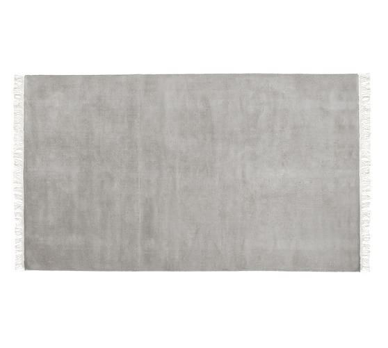 Fringed Hand-Loomed Wool Rug, 5x8', Heathered Gray