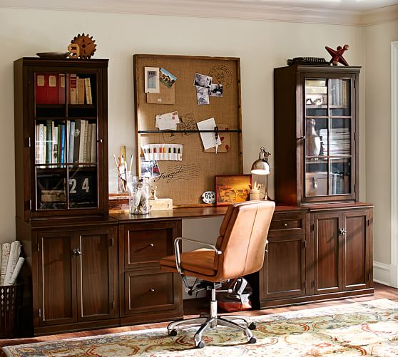 logan small office suite mahogany pottery barn