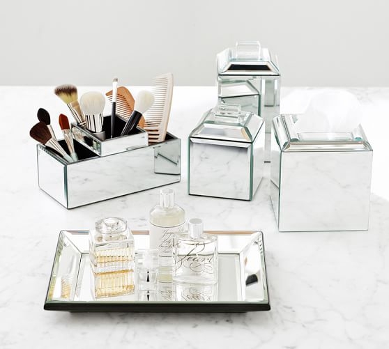 mirrored bathroom accessories sets mirrored bath accessories pottery barn 19508