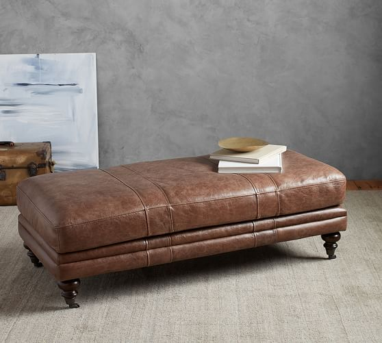 leather bedroom bench truman ottoman pottery barn 12065
