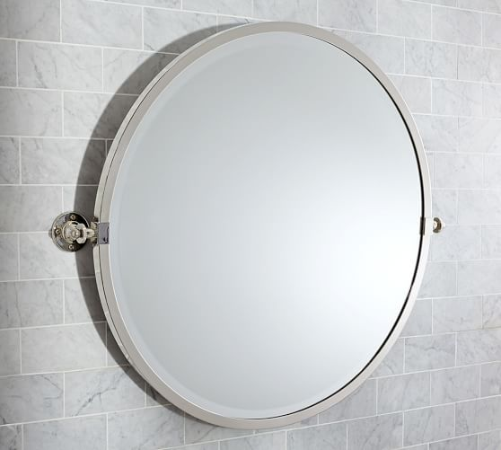 round bathroom wall mirrors kensington pivot mirror pottery barn 20231