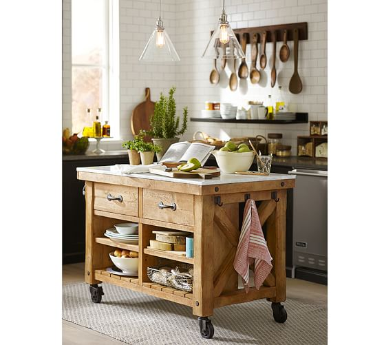 pottery barn kitchen islands hamilton reclaimed wood marble top kitchen island 4378