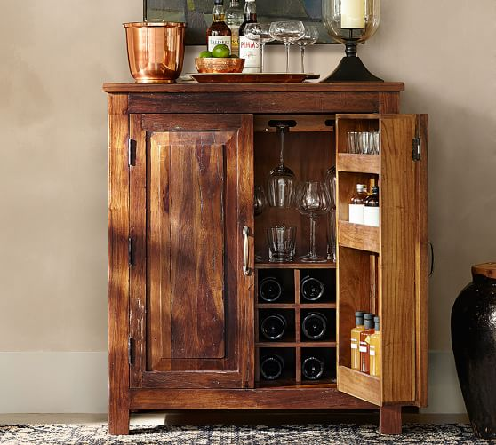 rustic bar cabinet bowry bar cabinet pottery barn 25720