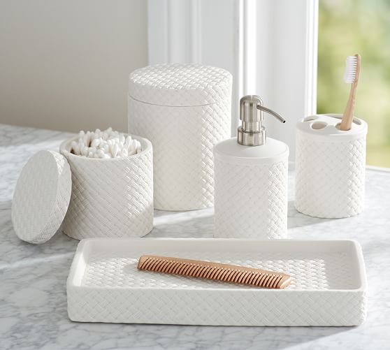 white porcelain bathroom accessories porcelain basketweave accessories pottery barn 21580