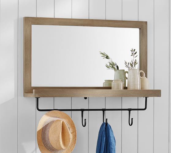 entryway mirror with hooks entry collection mirror with hooks pottery barn 29204